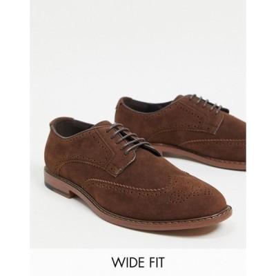 エイソス メンズ スリッポン・ローファー シューズ ASOS DESIGN Wide Fit brogue shoes in brown faux suede