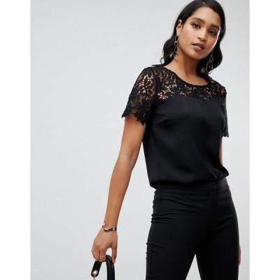 ヴィラ レディース カットソー トップス Vila lace detail shell top in black Black