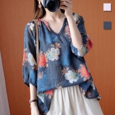 ブラウス レディース 7分丈袖ブラウス ゆったり 花柄ブラウス Vネック Tシャツ 七分丈袖 ゆったりTシャツ 花柄 夏 サマーTシャツ レトロ