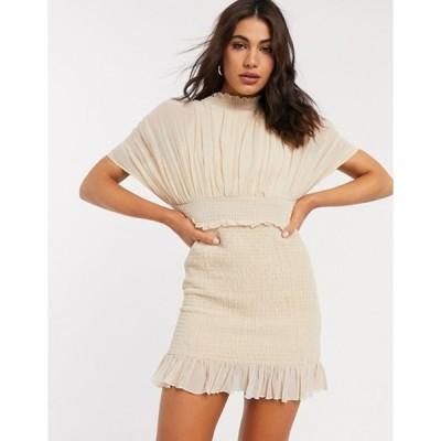 エイソス レディース ワンピース トップス ASOS DESIGN pleated blouson mini dress wth shirred skirt in cream