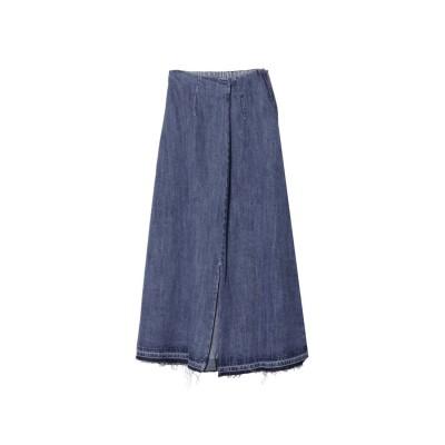リエディ Re:EDIT [お家で洗える][低身長向けSサイズ対応]タックデザインフロントスリットナロースカート (ブルー)