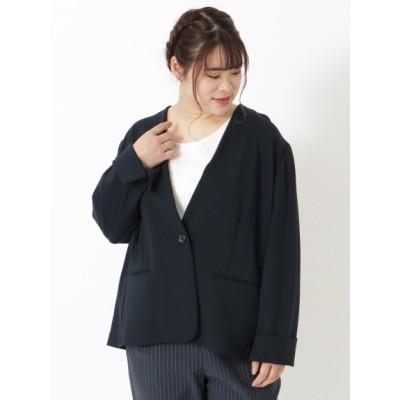 【大きいサイズ】ポンチジャケット 大きいサイズ アウター レディース