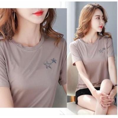 夏新作 予約商品 大きいサイズ レディース トップス シャツ Tシャツ パッチ シンプル 半袖 韓国ファッション 大人カジュアル