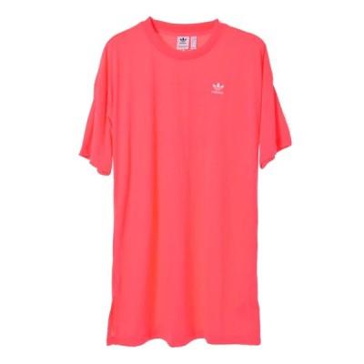 adidas トレフォイル ドレス ロング Tシャツ M ピンク アディダス