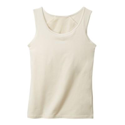 バストを小さく見せる 綿混ブラトップタンクトップ(M~L) (ブラトップ・カップ付インナー)Camisole