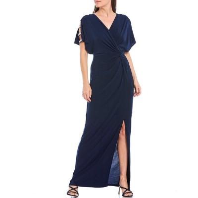 アレックスイブニングス レディース ワンピース トップス V-Neck Embellished Sleeve Knot Front Stretch Matte Jersey Gown Navy