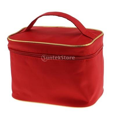 メイクアップバッグ 防水 メイクアップ 化粧品 収納 オーガナイザー ボックス ホルダー 旅行 5色選べる - 赤