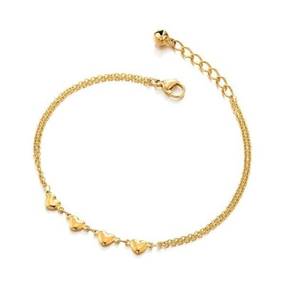 COOLSTEELANDBEYOND Stainless Steel Two-row Gold Color Anklet Bracelet