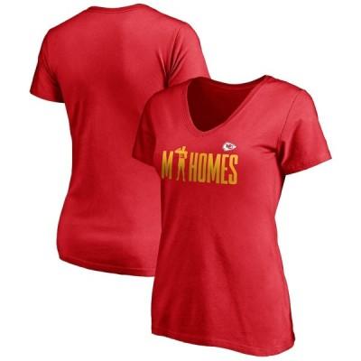 """レディース Tシャツ Patrick Mahomes """"Kansas City Chiefs"""" Fanatics Branded Women's Checkdown V-Neck T-Shirt - Red"""