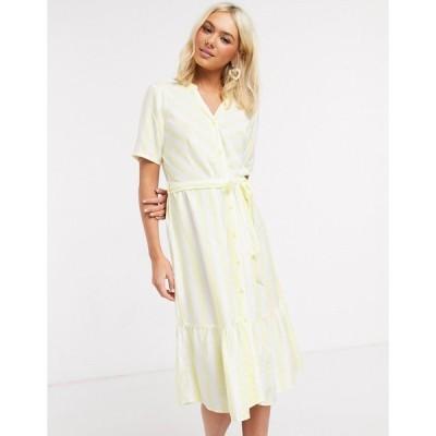 ジェイディーワイ レディース ワンピース トップス JDY midi dress with ruffle hem in yellow stripe Yellow stripe