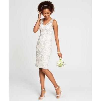 アドリアナ パペル ワンピース トップス レディース Floral Embroidered Sheath Dress Ivory