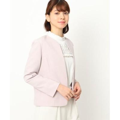 Couture Brooch/クチュールブローチ 【ママスーツ/入学式 スーツ/卒業式 スーツ】カラーレスジャケット ピンク(070) 40(L)