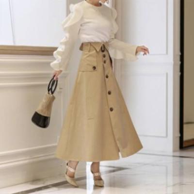 ハイウエスト トレンチスカート ロングスカート Aラインスカート フレアスカート ボタンダウン デート服 レディース 韓国 ファッション