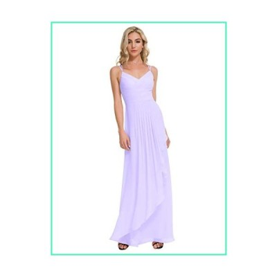 Alicepub V-Neck Long Bridesmaid Dresses Chiffon Prom Maxi Dress Party Evening Gowns, Lilac, US8並行輸入品