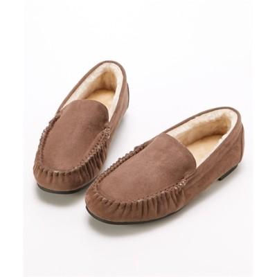 【ゆったり幅】フェイクファーモカシンシューズ(低反発中敷)(選べるワイズ) シューズ(フラットシューズ) Shoes