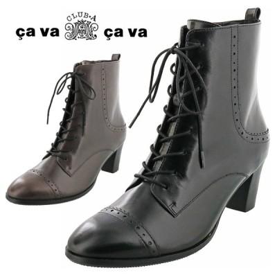 cavacava サヴァサヴァ レースアップブーツ 本革 ショートブーツ 7305381 レディース 靴 黒 歩きやすい 痛くない