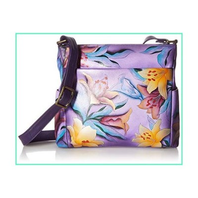 Anna by Anuschka Hand Painted Leather Women's Crossbody with Side Pockets, Sugar Lily並行輸入品