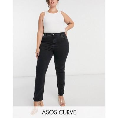 エイソス ASOS Curve レディース ジーンズ・デニム ASOS DESIGN Curve high rise '70's' kick flare jeans in washed black ウォッシュブラック