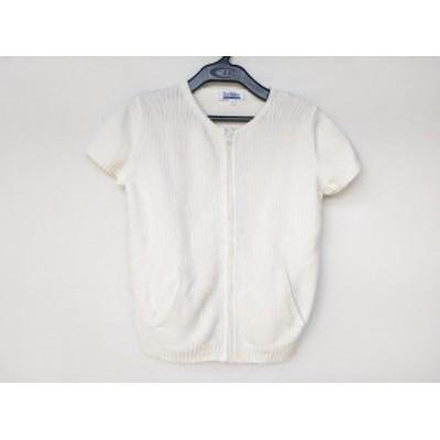 バーバリーブルーレーベル Burberry Blue Label 半袖セーター サイズM レディース 美品 - アイボリー ジップアップ【中古】20201010