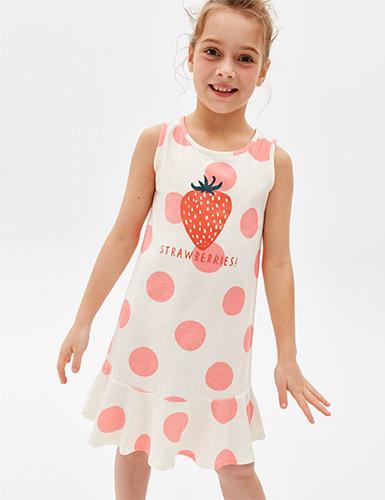 女童連身_夏日水果.無袖魚尾睡衣(米白/點點-草莓)