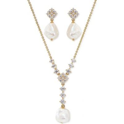 エリオット ダノリ Eliot Danori レディース イヤリング・ピアス Cubic Zirconia & Imitation Pearl Lariat Necklace & Drop Earrings Set