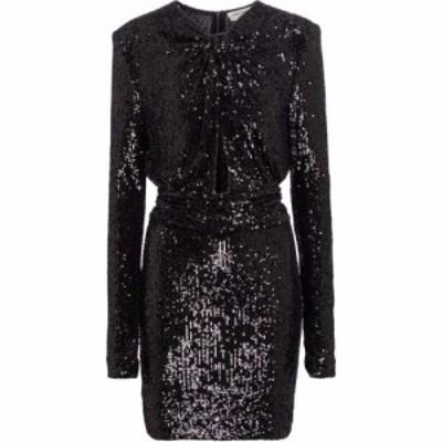 イヴ サンローラン Saint Laurent レディース パーティードレス ミニ丈 ワンピース・ドレス sequined jersey minidress Noir/Noir Brilli