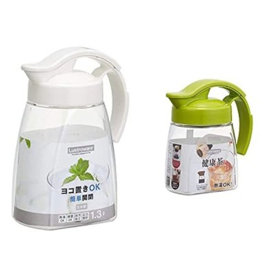岩崎 冷水筒 ピッチャー 麦茶 ポット 日本製 耐熱 横置き ワンプッシュ 熱湯可 パッキン付き タテヨコ スライド 1.3L K-1261