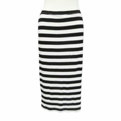H&M エイチアンドエム「S」白 黒 ボーダー カットソー スカート 086030【中古】