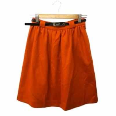 【中古】アダムエロペ for AUTHENTIC CLOTHES スカート フレア ギャザー ひざ丈 ベルト付き ウール 36 オレンジ