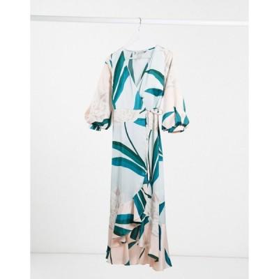 リカリッシュ ミディドレス レディース Liquorish contrast panel midaxi dress in sage and blush pink エイソス ASOS マルチカラー