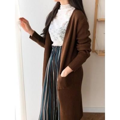 ロングニットカーディガン トップス オーバーサイズ 羽織 ベージュ ブラウン ブラック ホワイト レディース 韓国産