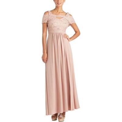 ナイトウェイ Nightway レディース パーティードレス オフショルダー ワンピース・ドレス Cold-Shoulder Lace Gown Rose Gold