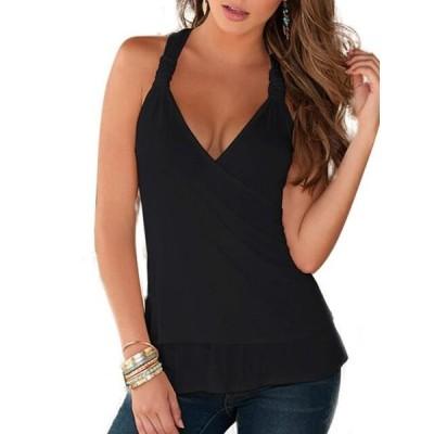 レディース 衣類 トップス Women's Sleeveless Halter Neck Tops Plain Lace Vest Blouse Slim Fit Shirts ブラウス&シャツ
