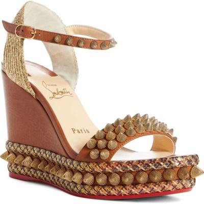 クリスチャン ルブタン CHRISTIAN LOUBOUTIN レディース サンダル・ミュール ウェッジソール シューズ・靴 Cordorella Studded Wedge Sandal Tan