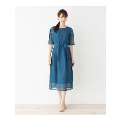 【WEB限定サイズあり】フラワーレースロングドレス