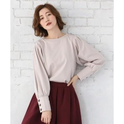 tシャツ Tシャツ 【Lサイズあり】ボリューム袖ボタンプルオーバー