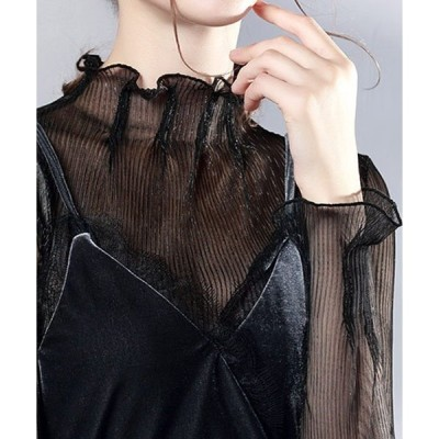 tシャツ Tシャツ フレアスリーブシアー タートルネックプルオーバー