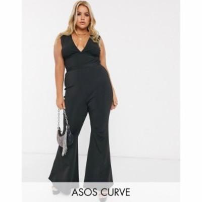 エイソス ASOS Curve レディース オールインワン ジャンプスーツ ワンピース・ドレス ASOS DESIGN Curve premium bandage plunge flare j