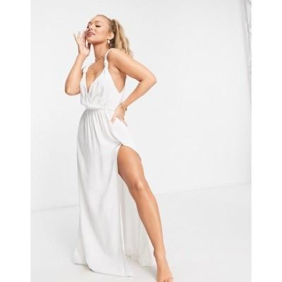 エイソス レディース ワンピース トップス ASOS DESIGN recycled knot strap maxi beach dress in white White