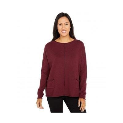 Elliott Lauren レディース 女性用 ファッション セーター Cotton Cashmere Sweater with Center Contrast Stripe Detail - Beetroot