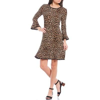 マイケルコース レディース ワンピース トップス MICHAEL Michael Kors Cheetah Print Matte Jersey Flounce Sleeve Tubular Trim A-Line Dress Dark Camel