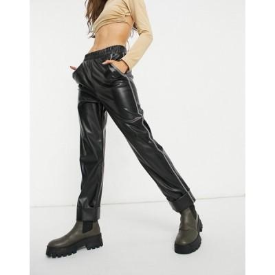 エイソス ASOS DESIGN レディース スウェット・ジャージ Asos Design Jersey Leather Look Tapered Trackpant With Contrast Stitch ブラック