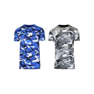ギャラクシーバイハルビック メンズ Tシャツ トップス Men's Short Sleeve Crew Neck Camo Printed Tee Pack of 2