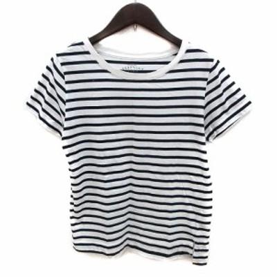【中古】イエナ スローブ Tシャツ カットソー クルーネック ボーダー 半袖 白 ホワイト 黒 ブラック レディース