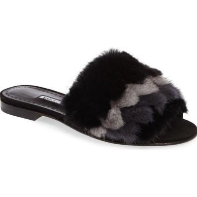 フラットシューズ マノロブラニク Manolo Blahnik PELUSUSMIN Mink Fur Flat Slide Sandals Black Shoes 36