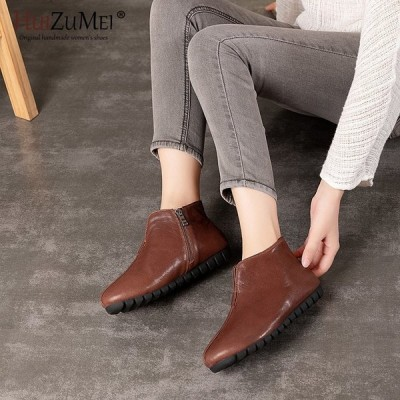 HUIZUMEI Genuine 革 Flat Shoes Plus Size Real 革 Handmade Flats Loafers 女性 S 送料無料【領収発行可】