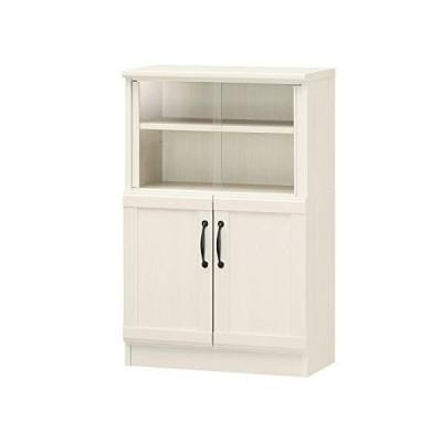 白井産業 ミニ 食器棚 カップボード ホワイト チェローネCEN-9055DGA 高さ約90cm