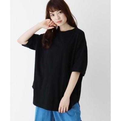 SHOO・LA・RUE/シューラルー 【M-L】USAコットン裾ラウンドゆるTシャツ ブラック(019) 03(L)