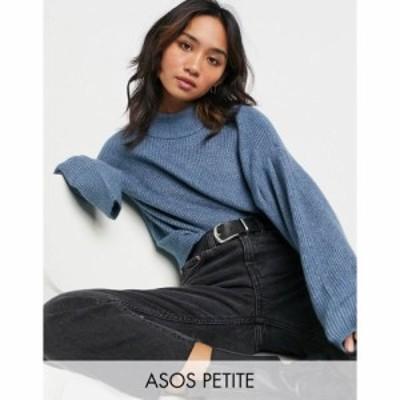エイソス ASOS Petite レディース ニット・セーター トップス Asos Design Petite Jumper With Batwing And Pleat Sleeve Detail In Blue