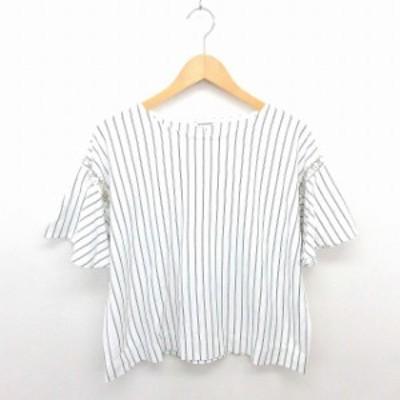 【中古】グローバルワーク カットソー Tシャツ ストライプ ボートネック ビーズ装飾 ビッグシルエット 半袖 S 白 黒